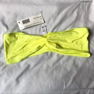 American Apparel Neon Yellow Ruched Front Tube Top